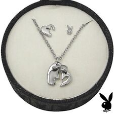 Playboy Jewelry Set Necklace Earrings Silver Swarovski Crystal Heart Bunny NEW 7