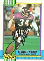 1990 Topps Signed Auto Herschel Walker Minnesota Vikings Football Card #105