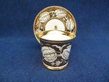 PORCELAIN CUP & SAUCER CHATEAU DE ST CLOUD EMPIRE STYLE 1900's GILT LEAFS WHITE