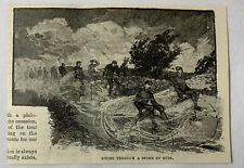 1885 magazine engraving ~ CYCLISTS RIDING THROUGH A STORM OF DUST