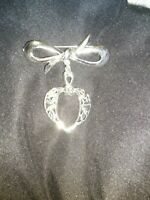 Bow with Dangling Heart with Scrolling Pin Brooch Silver Tone