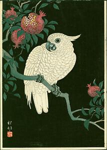 Ohara Koson (Shoson) Japanese Woodblock Print - Cockatoo & Pomegranate