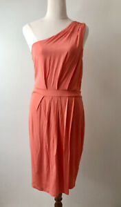 Witchery One Shoulder Orange Stretch Size 10 Lined Short Dress Pleat Front NWT