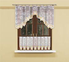 Modern, jacquard white net curtains set with curtain tape 85 x 300cm +45 x 300cm