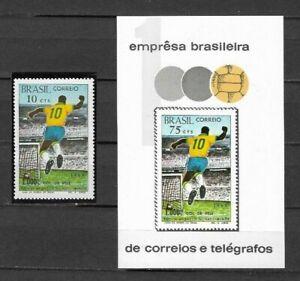BRAZIL-Sc#1144+Sc#1145 S/S. PELE-COMMEMORATING HIS 1000th GOAL. VF++