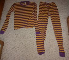 Hanna Andersson Purple & Yellow Striped Pajamas, Size 150 or US Size 12, Play