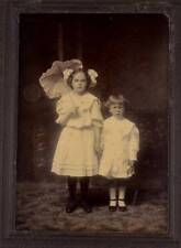 "LARGE CABINET PHOTO-TWO GIRLS IN PARLOR POSED WITH UMBRELLA-5 1/2"" X 3 3/4"""