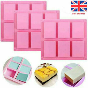 6 Cavity Silicone Rectangle Soap Mould DIY Jelly Cake Candy Baking Mold Tray UK