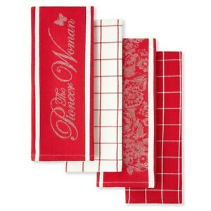 """Pioneer Woman Red & White Kitchen Towels 16""""x28"""" 4 Piece set*Great as a gift*New"""