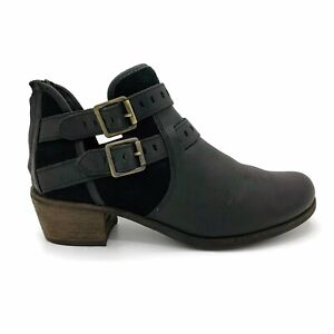 Ugg Size 9.5 Patsy Black Leather Dual Strap Ankle Booties Sherpa Lining