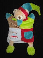 Doudou & Compagnie Marionnette Ours Mario Mirou bleu vert marron rouge DC1609