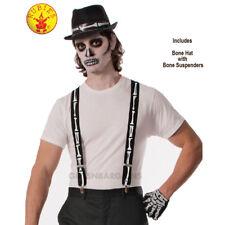 Skeleton Fedora Hat & Suspenders Set Skull Bones Halloween Adult Costume Men