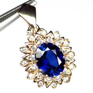 SAPPHIRE AAA KASHMIR BLUE OVAL PENDANT 7.50 CT. 925 STERLING SILVER ROSE GOLD