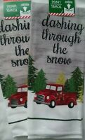 NWT SET OF 2 CHRISTMAS HOLIDAY RED FARM TRUCK KITCHEN HAND OR DISH TOWELS DECOR
