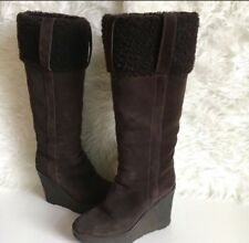 YSL Yves Saint Laurent Shearling Wedge Suede Boots 8.5 (fit 7.5) EUC
