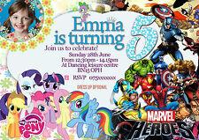 Personalized Birthday Party Invitations My little pony + Super hero 8 Invites