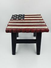"Primitive Patriotic American Flag Painted Wood Step Stool 9.5""H x9""W x9""D"