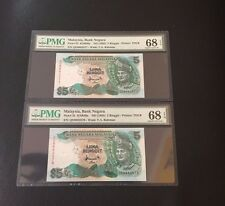 ND(1995) Malaysia 6th series Bank Negara RM5 Ringgit P-35 PMG 68 EPQ Pair