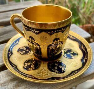 Traumhafte Mokkatasse Rosenthal Jugendstil Kobaldblau mit viel Gold Moccatasse