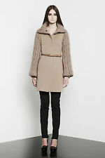 MACKAGE 'Theola' Cable Knit & Leather Trim Wool Cashmere Coat Beige Sand L $750