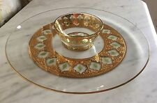 """Culver Glass Valencia 22kt Gold Platter 14.5"""" Round with matching 5"""" Bowl"""