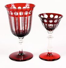 VINTAGE RED CUT-TO-CLEAR CRYSTAL SERVICE FOR 10: WATER AND WINE, ruby red