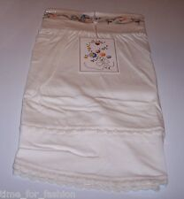 Sweetees Super Soft Cotton Blend skirt Floral Embroidery Knit Trim - Small White