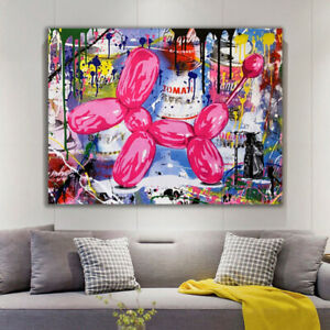 BALLOON DOG ON STRETCHED CANVAS PRINTS ABSTRACT ARTWORK WATERCOLOR DECOR