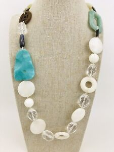 Snow Quartz Turquoise Stone Chunky Necklace Long Sterling Silver Boho Jade