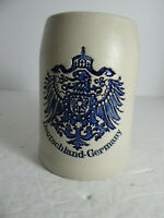 "German Ceramic Beer Stein Mug Deutschland Germany Blue Eagle 5 1/4"" High"