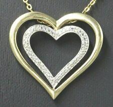 Diamond Heart Womens Pendant 9ct Yellow & White Gold Fine Jewelry