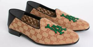 Gucci Beige  La Dodgers Collapsible-heel Appliquéd Monogrammed Loafers  US 9.5