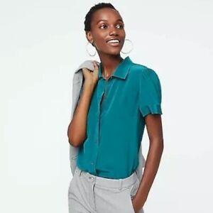 J Crew Size XL Silk Blouse Short Sleeve Spicy Jade Button Up