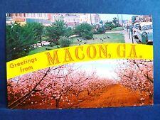 Postcard GA Macon Dualview Third Street & Peach Orchard in Bloom