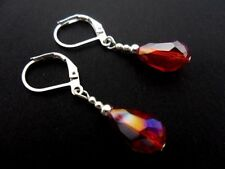 Handmade Leverback Crystal Silver Plated Costume Earrings