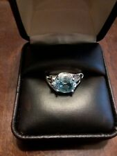 BEAUTIFUL 10KT WHITE GOLD TOPAZ RING SIZE 7.5 2.2 GRAMS