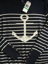 NEW Nautica Womens Stripe Anchor Sweater Navy White Size L Nautical Sea $59+