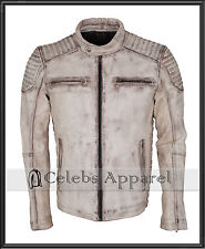 Designer Casual White Antique Waxed Vintage Biker Mens Leather Jacket