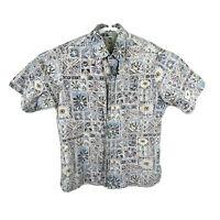 Kahala Large Hawaiian Camp Shirt Button Down Reverse Floral Aloha Cotton Vtg EUC