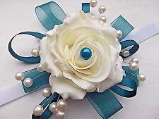 Alzavola E AVORIO ROSE BELLISSIMO polso bustino con diamanti e perle.