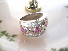 PINK TOPAZ and RHINESTONE X O STERLING SILVER RING Size 7