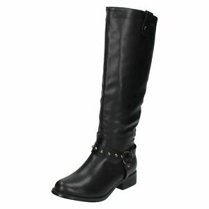 Ladies F50092 Black Mid Calf Zip/Pull On Boot By Spot On £19.99
