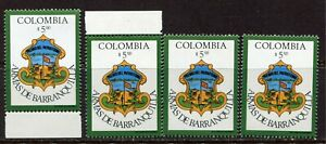 COLOMBIA 1977, COAT OF ARMS OF BARRANQUILLA CITY, Scott 838 LOT OF 4, MNH