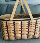 LONGABERGER Proudly American Block Party Basket + Protector