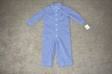 NWT Infant Boys Ralph Lauren Blue Plaid Long Sleeve Lined Romper Outfit 12 M