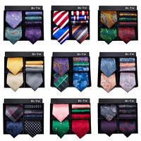 Mens Silk Ties Gift Box Blue Striped Necktie Black Red Wedding Tie 3-Piece Set