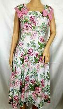 Vintage Donna Morgan 90s Pin-up Dress Floral Sleeveless Bow Babydoll Retro