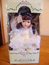 "CROWNE FINE PORCELAIN COLLECTORS DOLL 1998 - ""KAY""  Sitting on Bench w/COA - NEW"