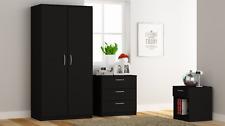 Black 3 Piece Bedroom Furniture Set - Wardrobe Chest Bedside LANDLORDS PACKAGE