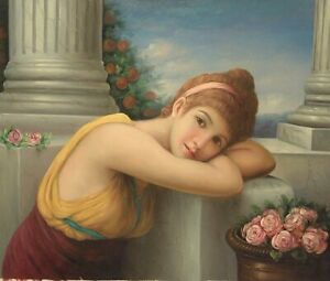 """24""""x 20"""" Oil Painting on Canvas, Young Lady Daydreaming, Hand Painted"""